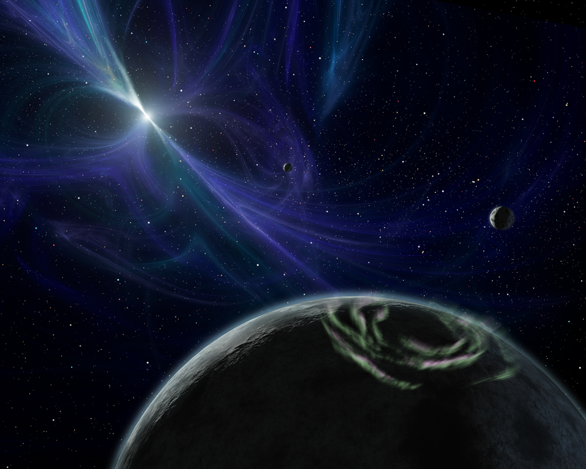 Artist's impression of the pulsar planet system discovered by Wolszczan and Frail