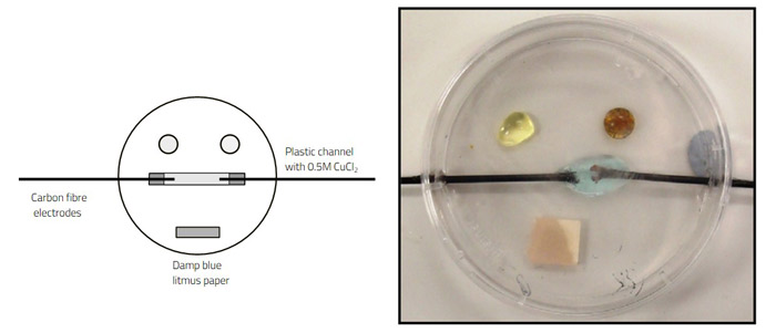 A microscale setup for the electrolysis of sodium chloride or copper(II) chloride in a Petri dish.