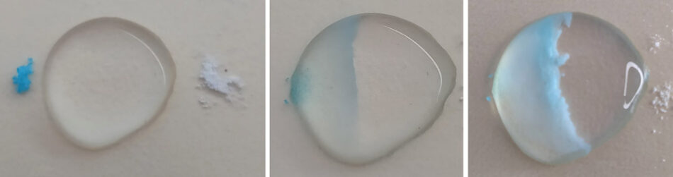 A microscale reaction of copper sulfate and sodium carbonate to give copper carbonate that precipitates in the centre of the drop.