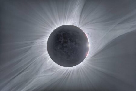 The Sun's corona during during the total solar eclipse of 21 August 2017. The corona is sculpted by the Sun's magnetic field